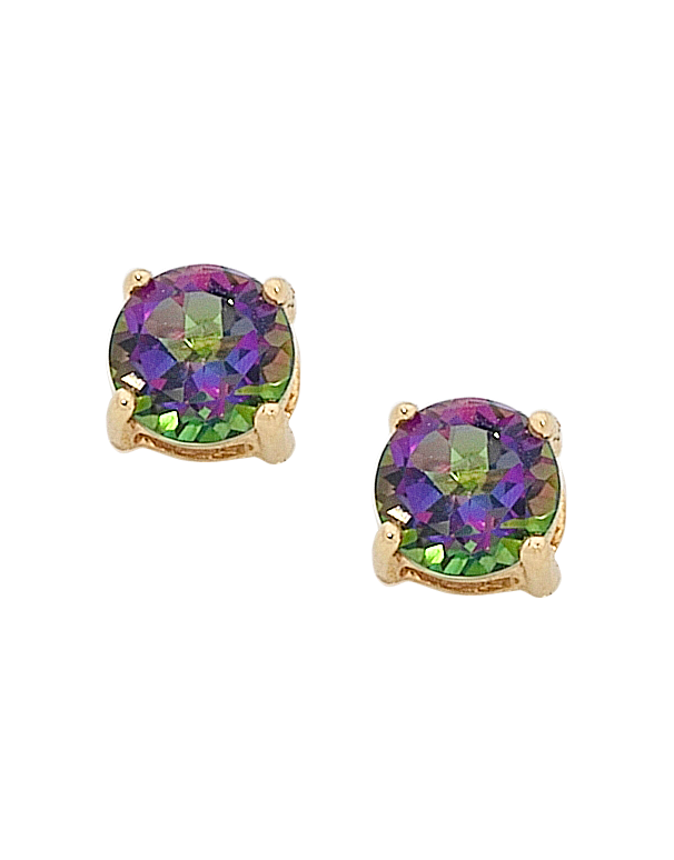 silver p mystic gem diamond earrings stud topaz sterling birthstone cut round