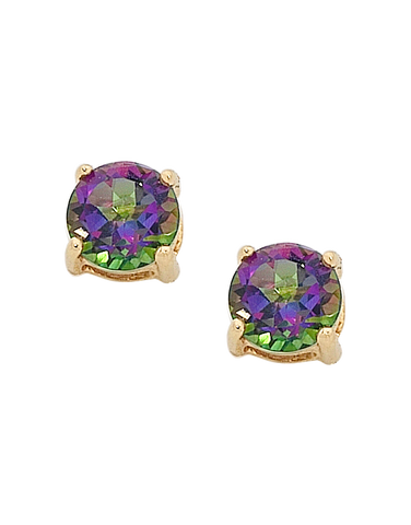 Mystic Topaz Earrings - Yellow Gold Mystic Topaz Stud Earrings - 751987