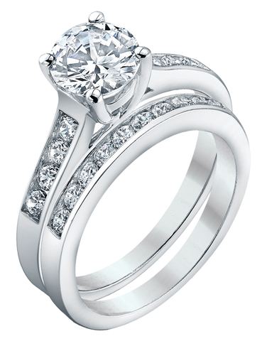 Bridal Set - White Gold Brilliant Cut Diamond Bridal Set - 753722