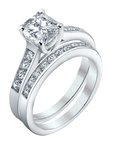 Bridal Set - White Gold Princess Cut Diamond Bridal Set - 753724