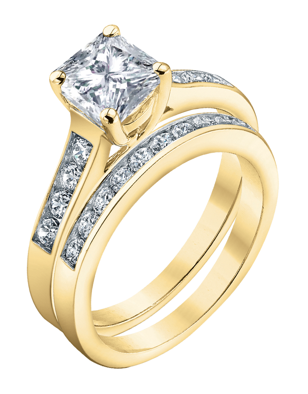 Bridal Set - Yellow Gold Princess Cut Diamond Bridal Set - 753725 - Salera's Melbourne, Victoria and Brisbane, Queensland Australia