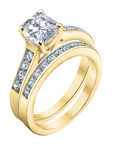 Bridal Set - Yellow Gold Princess Cut Diamond Bridal Set - 753725
