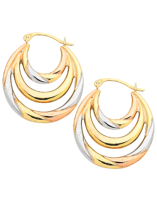 Gold Earrings Three Tone Gold Hoop Earrings