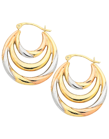 Gold Earrings - Three Tone Gold Hoop Earrings - 753787