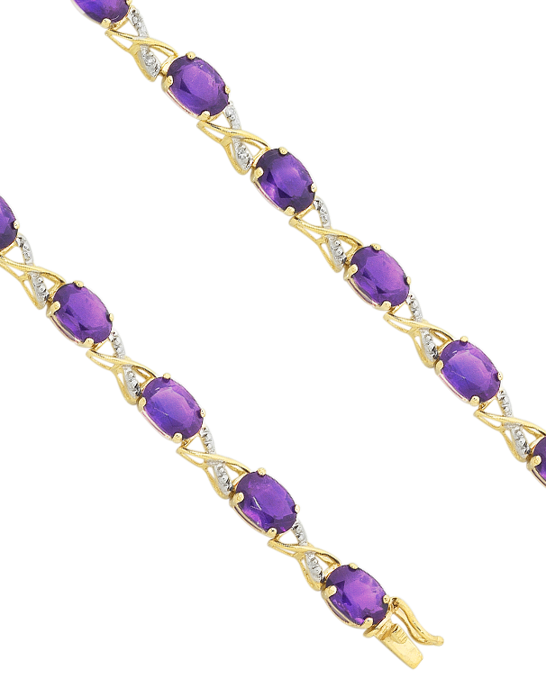 Amethyst Bracelet - 9ct Yellow Gold Amethyst and Diamond Bracelet - 753799 - Salera's