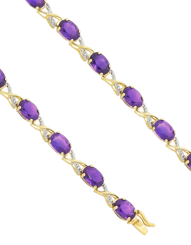 Amethyst Bracelet - 9ct Yellow Gold Amethyst and Diamond Bracelet - 753799