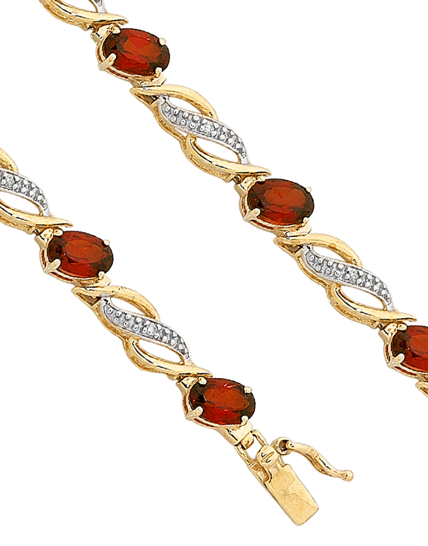 Garnet Bracelet - 9ct Yellow Gold Garnet and Diamond Bracelet - 753800 - Salera's Melbourne, Victoria and Brisbane, Queensland Australia