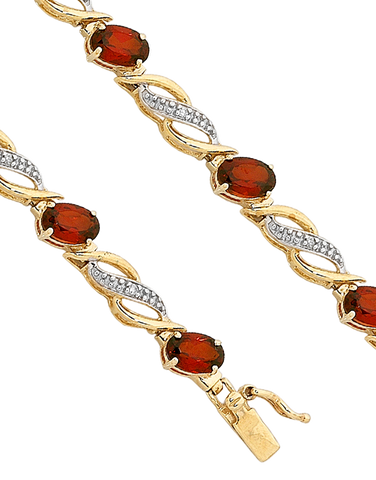 Garnet Bracelet - 9ct Yellow Gold Garnet and Diamond Bracelet - 753800