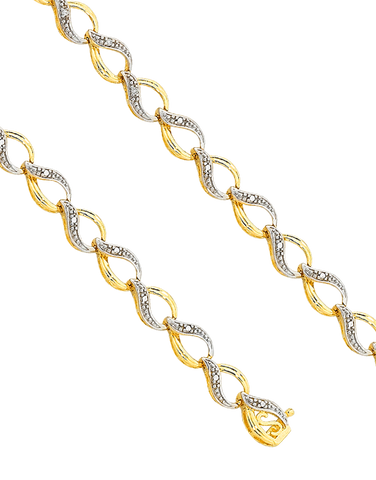 Diamond Bracelet - 9ct Two Tone Diamond Bracelet - 753801