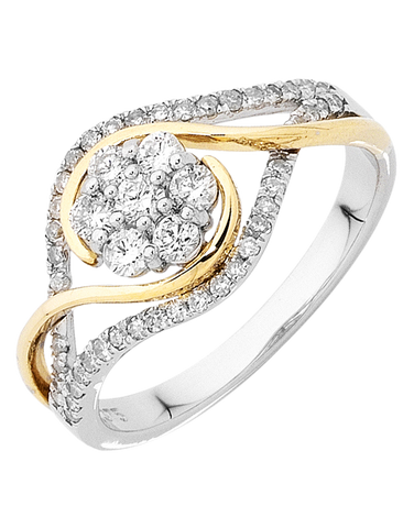 Diamond Ring - Two Tone Gold Diamond Ring - 753815
