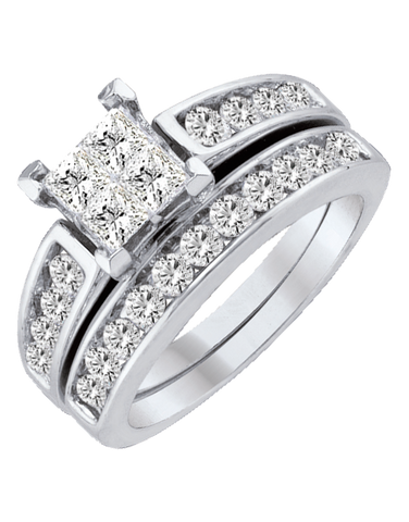 Bridal Set - White Gold Diamond Bridal Set Rings - 753876
