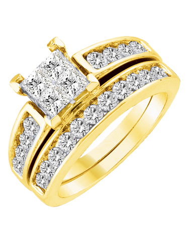 Bridal Set - Yellow Gold Diamond Bridal Set Rings - 753877