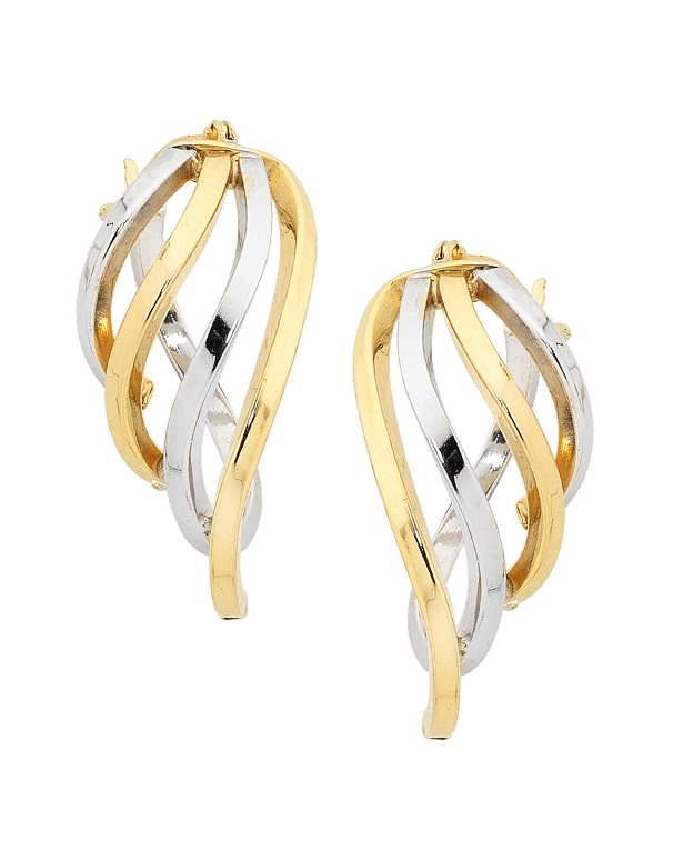 Gold Earrings - Two Tone Gold Hoop Earrings - 754047 - Salera's Melbourne, Victoria and Brisbane, Queensland Australia