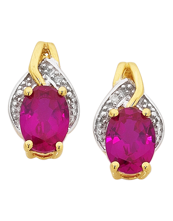 Ruby Earrings - Yellow Gold Ruby and Diamond Earrings - 754065 - Salera's Melbourne, Victoria and Brisbane, Queensland Australia