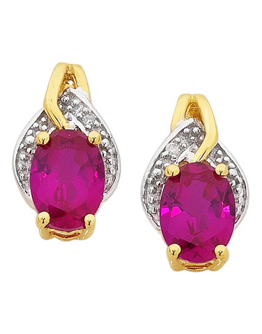 Ruby Earrings - Yellow Gold Ruby and Diamond Earrings - 754065