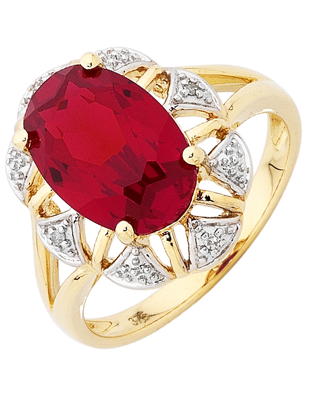 Ruby Ring - Yellow Gold Ruby and Diamond Ring - 754067 - Salera's Melbourne, Victoria and Brisbane, Queensland Australia