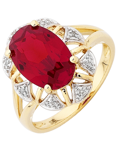 Ruby Ring - Yellow Gold Ruby and Diamond Ring - 754067