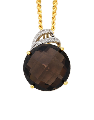 Smokey Quartz Pendant - Yellow Gold Smokey Quartz and Diamond Pendant - 754073