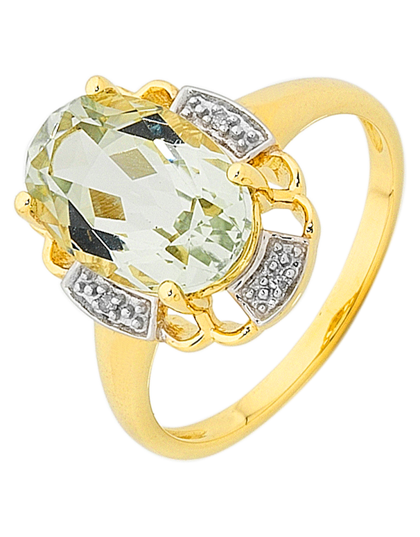 Green Amethyst Ring - Yellow Gold Green Amethyst and Diamond Ring - 754082 - Salera's Melbourne, Victoria and Brisbane, Queensland Australia