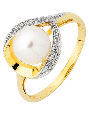 Pearl Ring - 9ct Yellow Gold Pearl & Diamond Ring - 754087