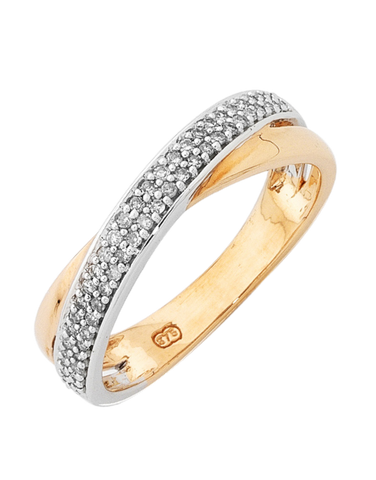 Diamond Ring - Two Tone Gold Diamond Ring - 754089