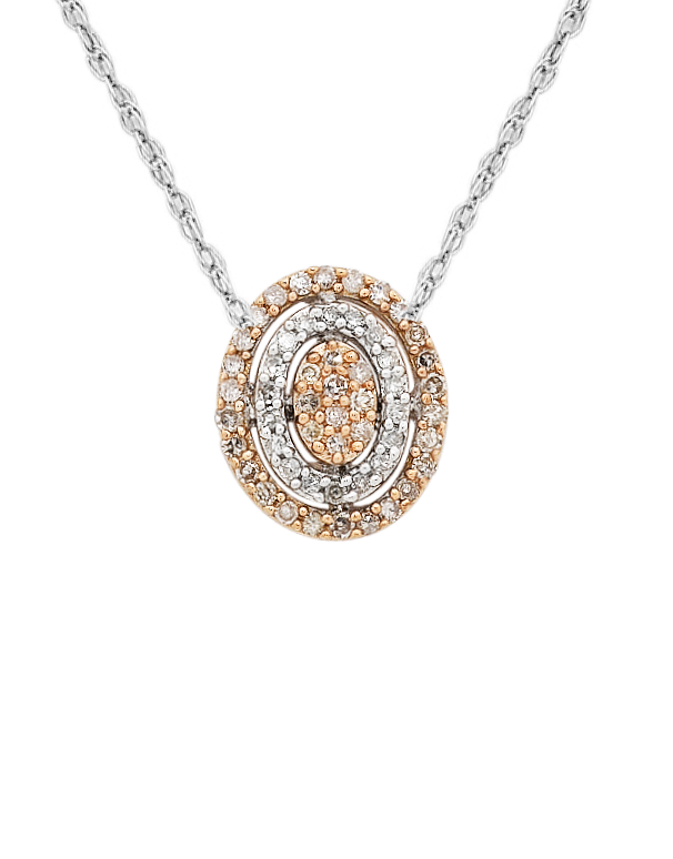 Diamond Pendant - Two Tone Rose Gold Diamond Pendant - 754091 - Salera's Melbourne, Victoria and Brisbane, Queensland Australia