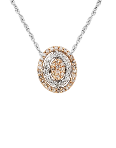 Diamond Pendant - Two Tone Rose Gold Diamond Pendant - 754091
