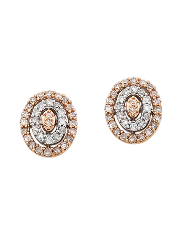 Diamond Earrings - Diamond Set Two Tone Rose Gold Earrings - 754092