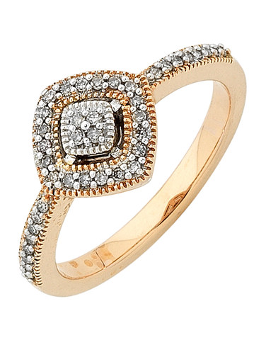 Diamond Ring - Two Tone Rose Gold Diamond Ring - 754093
