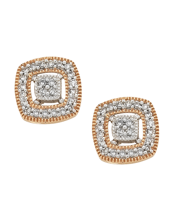 Diamond Earrings - Diamond Set Two Tone Rose Gold Earrings - 754094 - Salera's Melbourne, Victoria and Brisbane, Queensland Australia