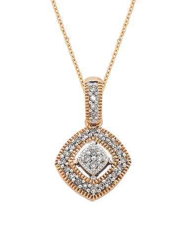 Diamond Pendant - Two Tone Rose Gold Diamond Pendant - 754095