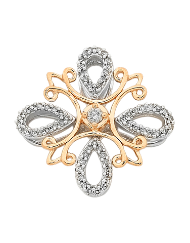 Diamond Pendant - Two Tone Rose Gold Diamond Set Pendant - 754099