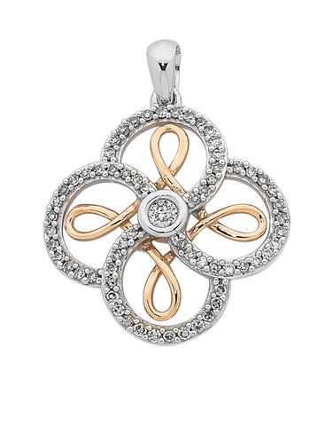 Diamond Pendant - Two Tone Rose Gold Diamond Set Pendant - 754100