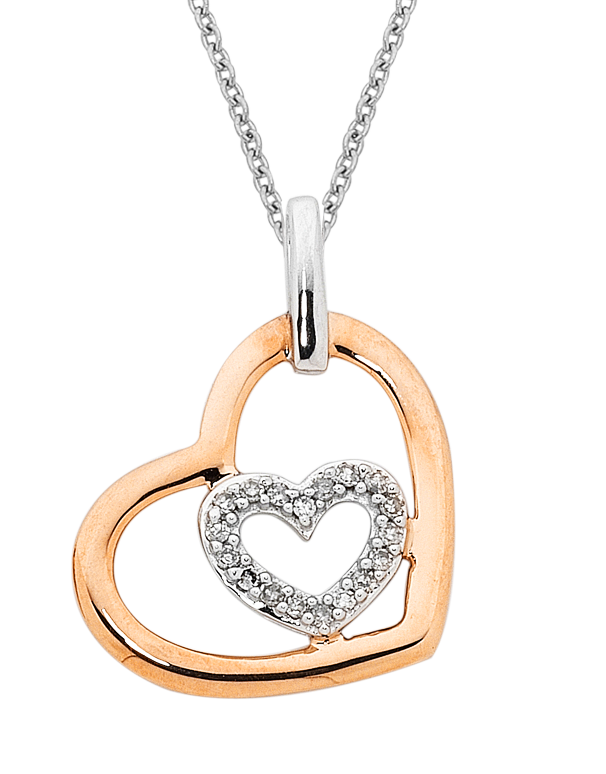Diamond Pendant - Two Tone Gold Diamond Heart Pendant - 754101 - Salera's Melbourne, Victoria and Brisbane, Queensland Australia