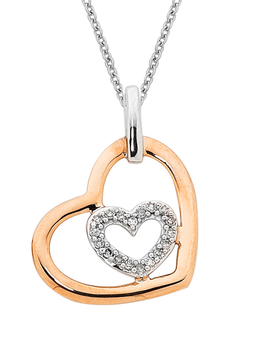 Diamond Pendant - 9ct Two Tone Gold Diamond Heart Pendant - 754101