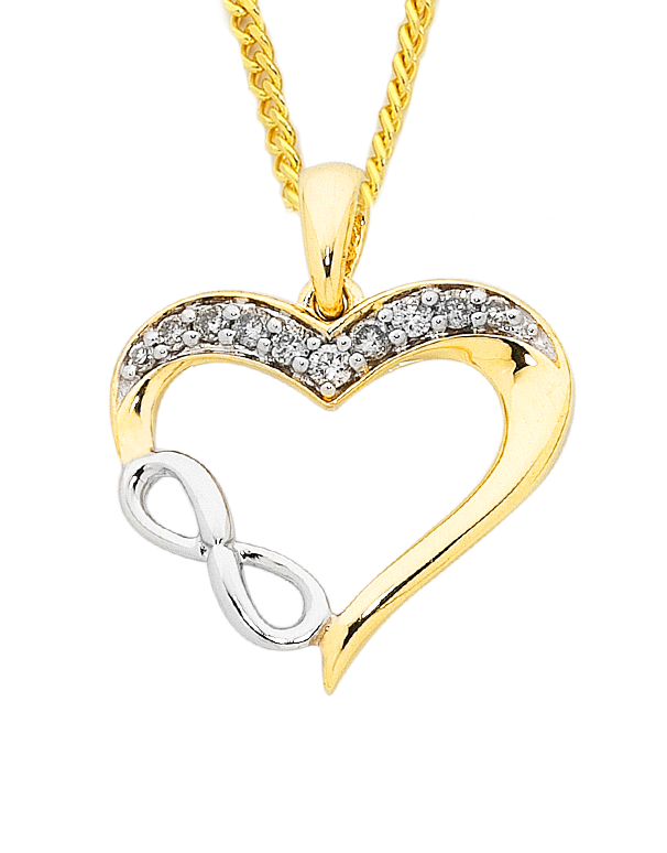 Diamond Pendant - Two Tone Diamond Infinity Heart Pendant - 754103 - Salera's Melbourne, Victoria and Brisbane, Queensland Australia