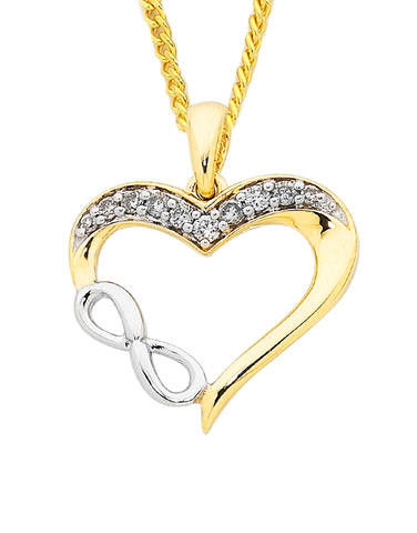 Diamond Pendant - Two Tone Diamond Infinity Heart Pendant - 754103