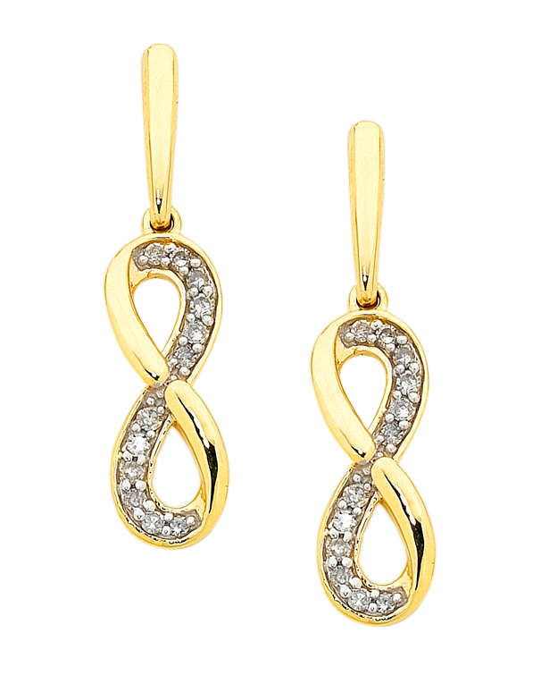 9ct Gold Infinity Earrings set with Real Diamonds TZMrK2VN