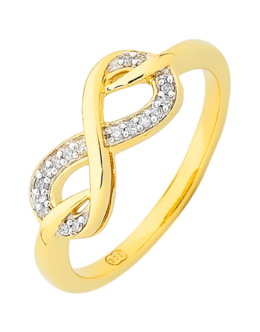 Diamond Ring - Yellow Gold Infinity Diamond Ring - 754107