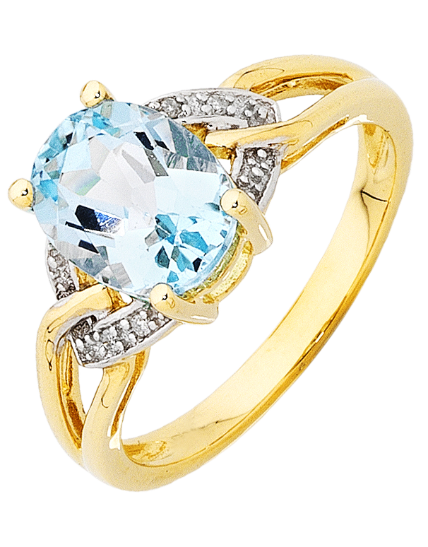 Blue Topaz Ring - Yellow Gold Blue Topaz & Diamond Ring - 754175 - Salera's Melbourne, Victoria and Brisbane, Queensland Australia