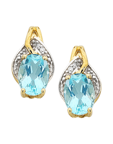 Blue Topaz Earrings - Yellow Gold Blue Topaz & Diamond Earrings - 754176