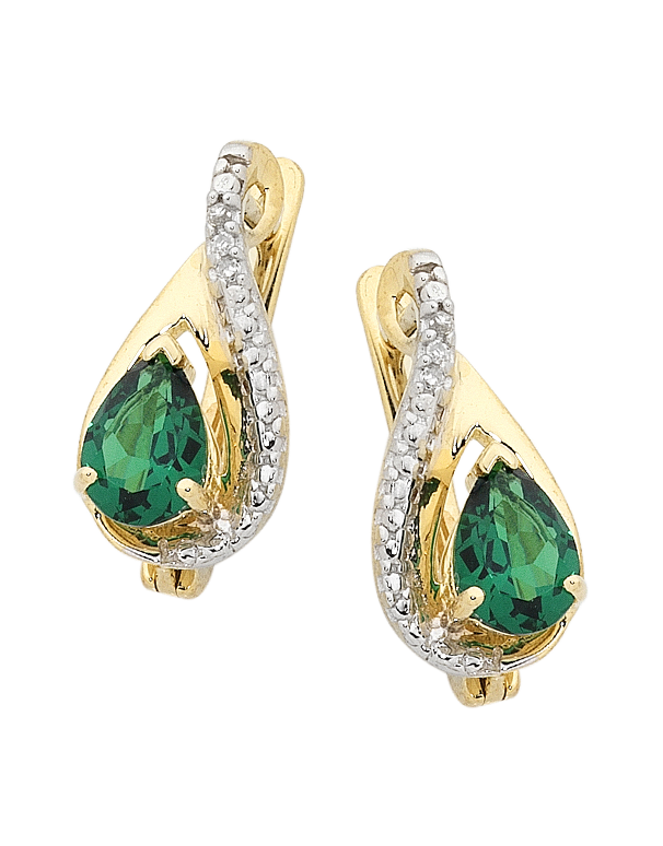Emerald Earrings - 9ct Yellow Gold Emerald and Diamond Earrings - 754178 - Salera's Melbourne, Victoria and Brisbane, Queensland Australia