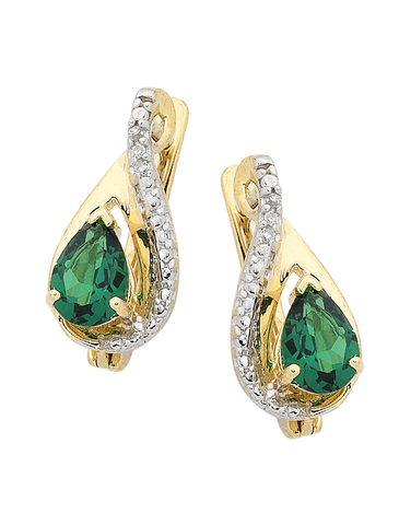 Emerald Earrings - 9ct Yellow Gold Emerald and Diamond Earrings - 754178