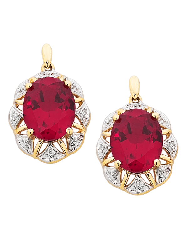 Ruby Earrings - 9ct Yellow Gold Ruby and Diamond Earrings - 754179 - Salera's