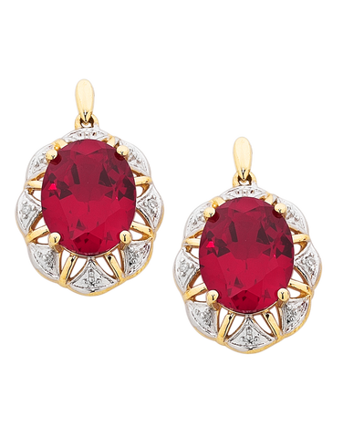 Ruby Earrings - 9ct Yellow Gold Ruby and Diamond Earrings - 754179
