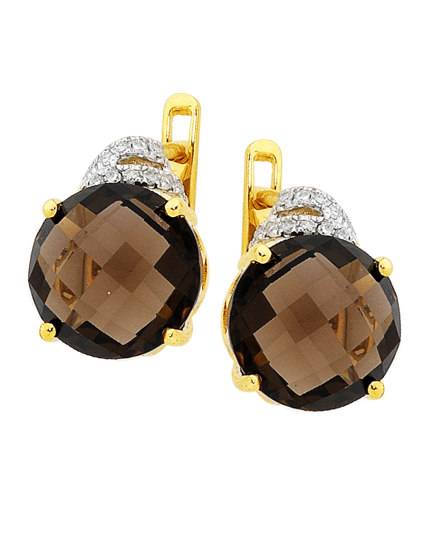 Smokey Quartz Earrings - Yellow Gold Smokey Quartz and Diamond Earrings - 754180 - Salera's Melbourne, Victoria and Brisbane, Queensland Australia