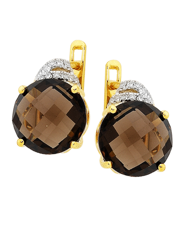 Smokey Quartz Earrings - Yellow Gold Smokey Quartz and Diamond Earrings - 754180