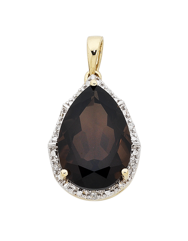 Smokey Quartz Pendant - Yellow Gold Smokey Quartz and Diamond Pendant - 754187