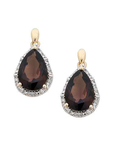 Smokey Quartz Earrings - Yellow Gold Smokey Quartz and Diamond Earrings - 754188