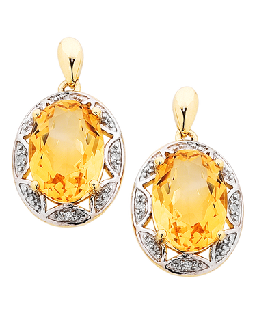 Citrine Earrings - Yellow Gold Citrine and Diamond Earrings - 754190